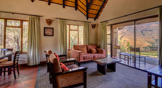 Thendele Camp 4 bed Chalet Lounge Self-Catering Drakensberg Accommodation Upper Camp Royal Natal Park